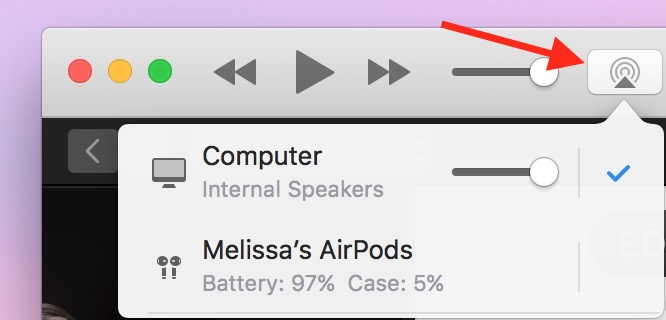 Speaker Icon in iTunes on the Mac showing AirPods battery level