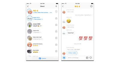 Direct Messaging and disappearing photos and video are combined in the Instagram 10.16 update