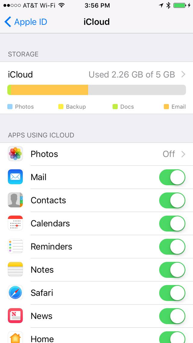 iCloud Settings in Settings App