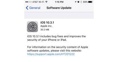 iOS 10.3.1 Release Note Screenshot