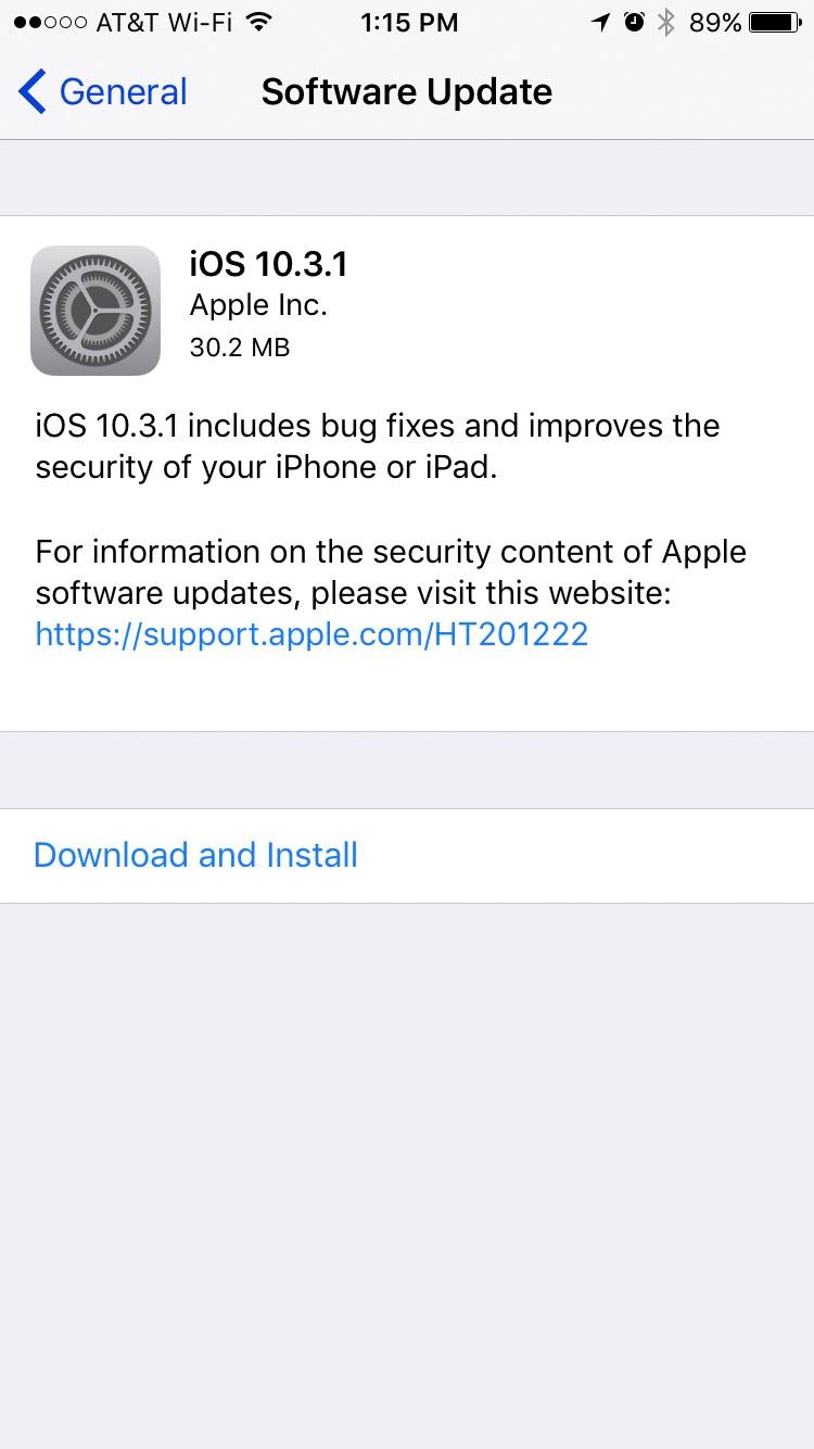 Screenshot from iOS 10.3.1