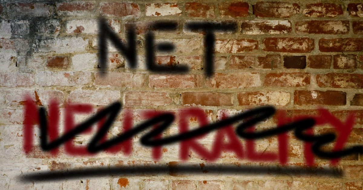 Net Neutrality graffiti on a brick wall