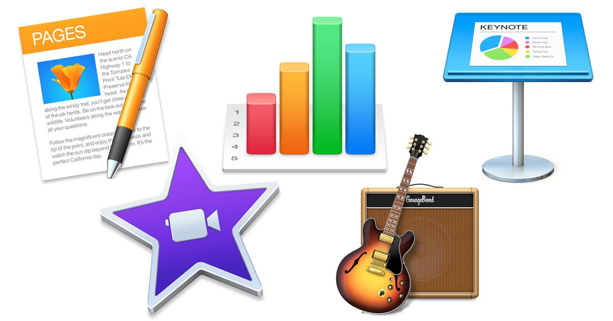 Icons for Pages, Numbers, Keynote, iMovie, and GarageBand