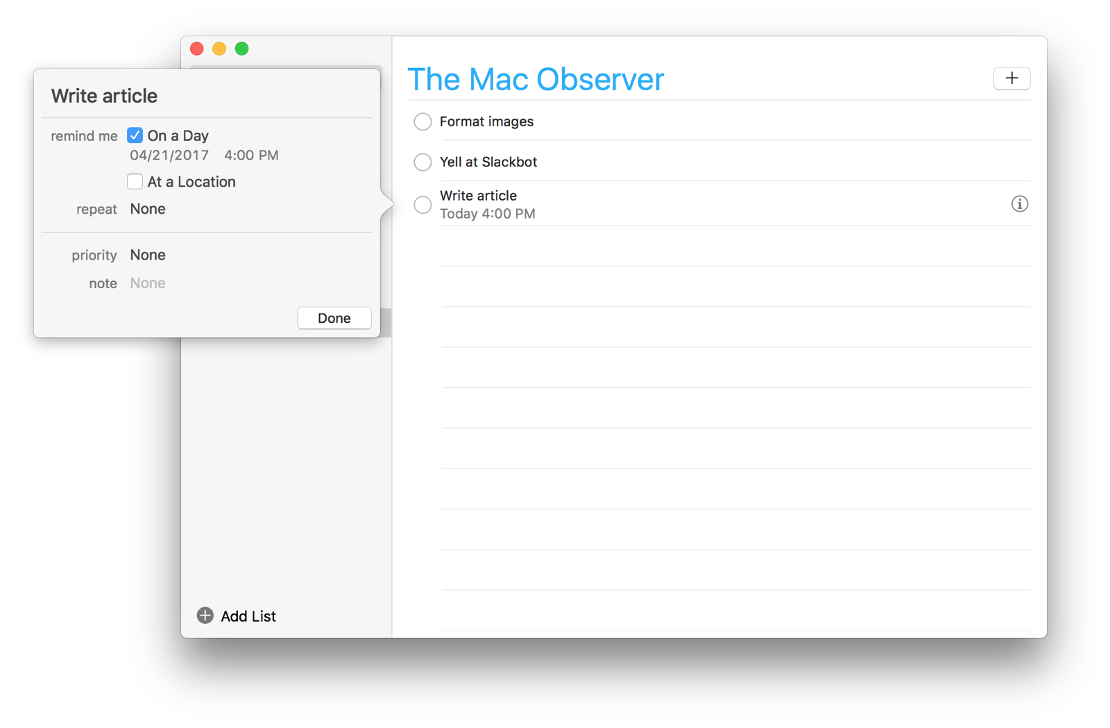 Automatically format reminders on macos