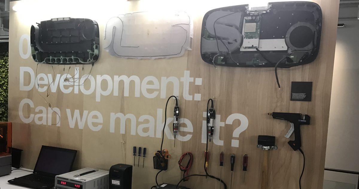 "The Sonos PLAYBAR's internal development bench, saying ""Development: can we make it?"""
