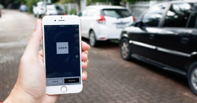 The Uber App on an iPhone