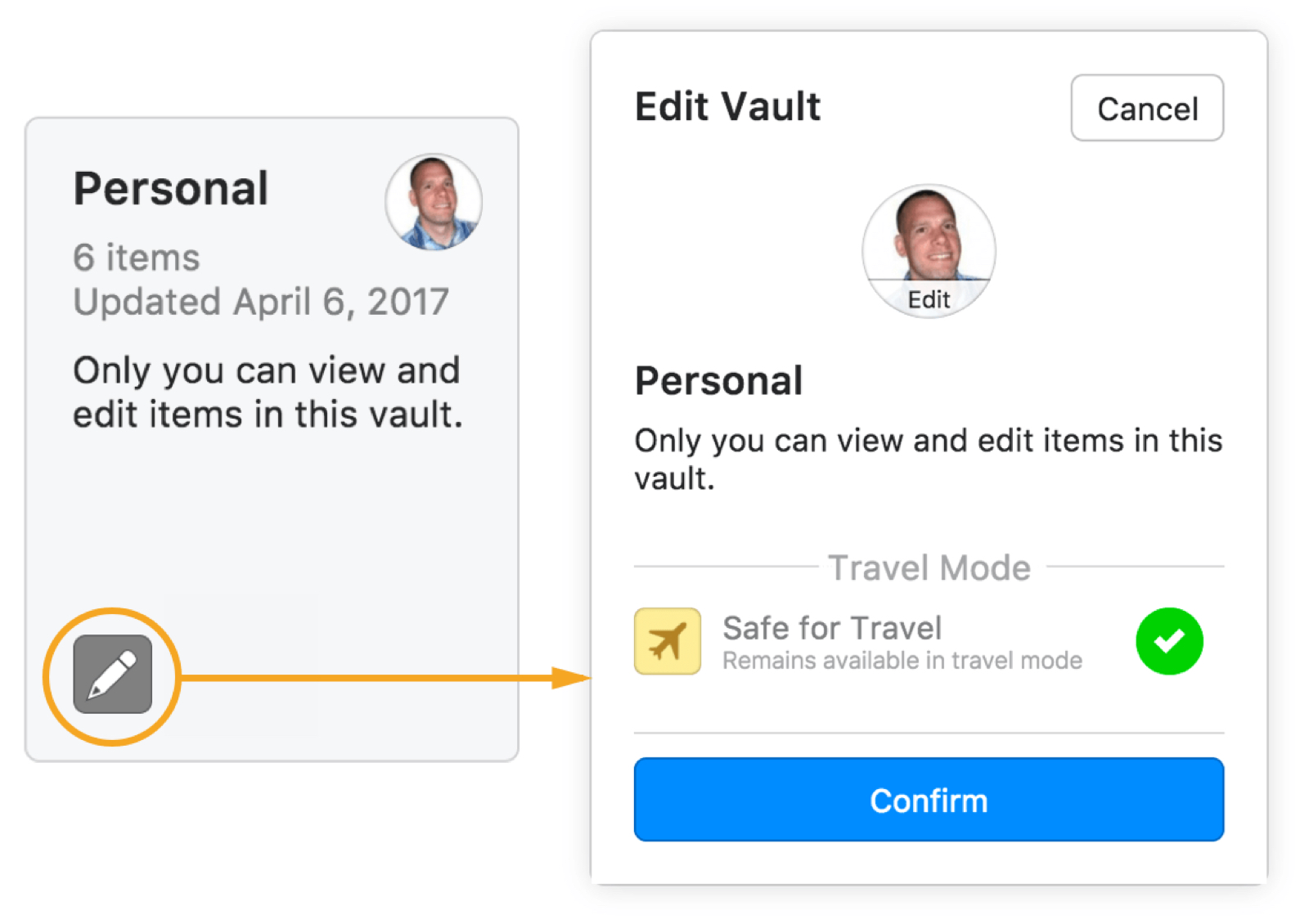 Example image to enable Safe for Travel for new 1Password Travel Mode.