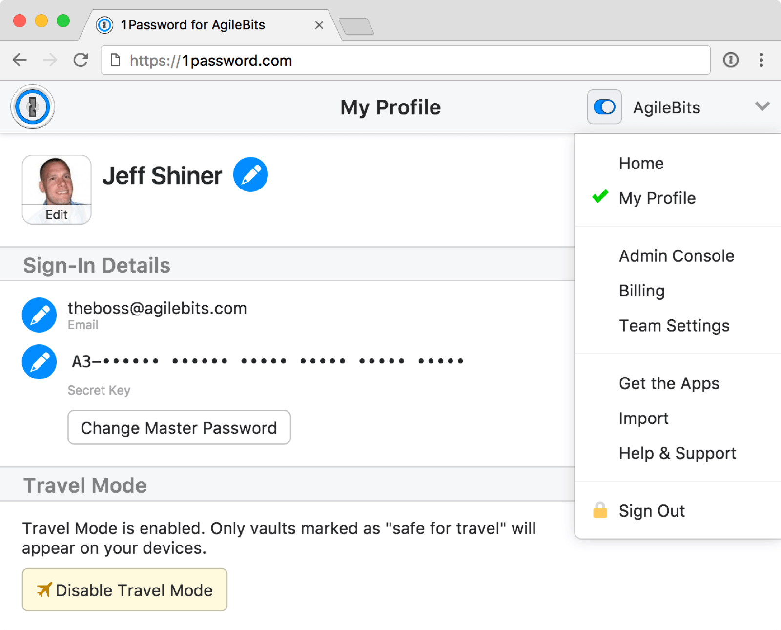 Image of account profile for 1Password Travel Mode.