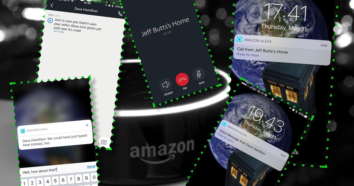 An Echo Dot and various Alexa app screens showing the Alexa Calling feature on the iPhone