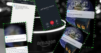 An Echo Dot and various Alexa app screens showing Alexa Calling on the iPhone