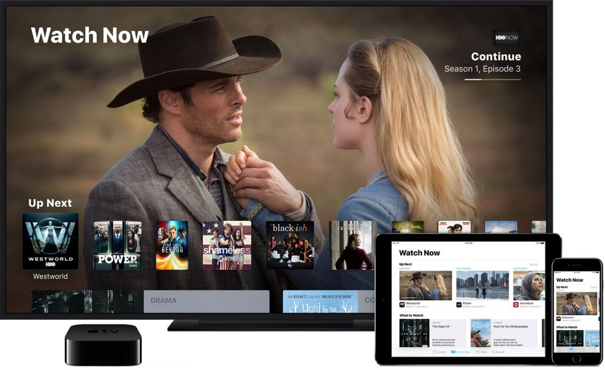 Apple's TV app on multiple devices, now including the Crackle app.
