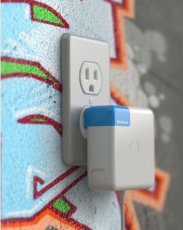 Blockhead snaps onto your Apple charger so it sits flat against the wall.