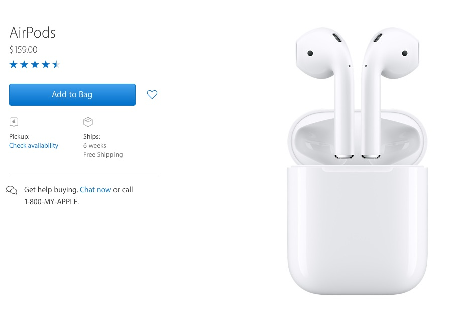 AirPods look like wireless EarPods, with a battery case that looks like a dental floss dispenser.
