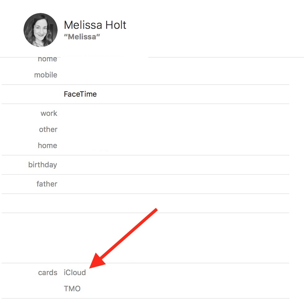 Linked cards in Contacts show which accounts they came from