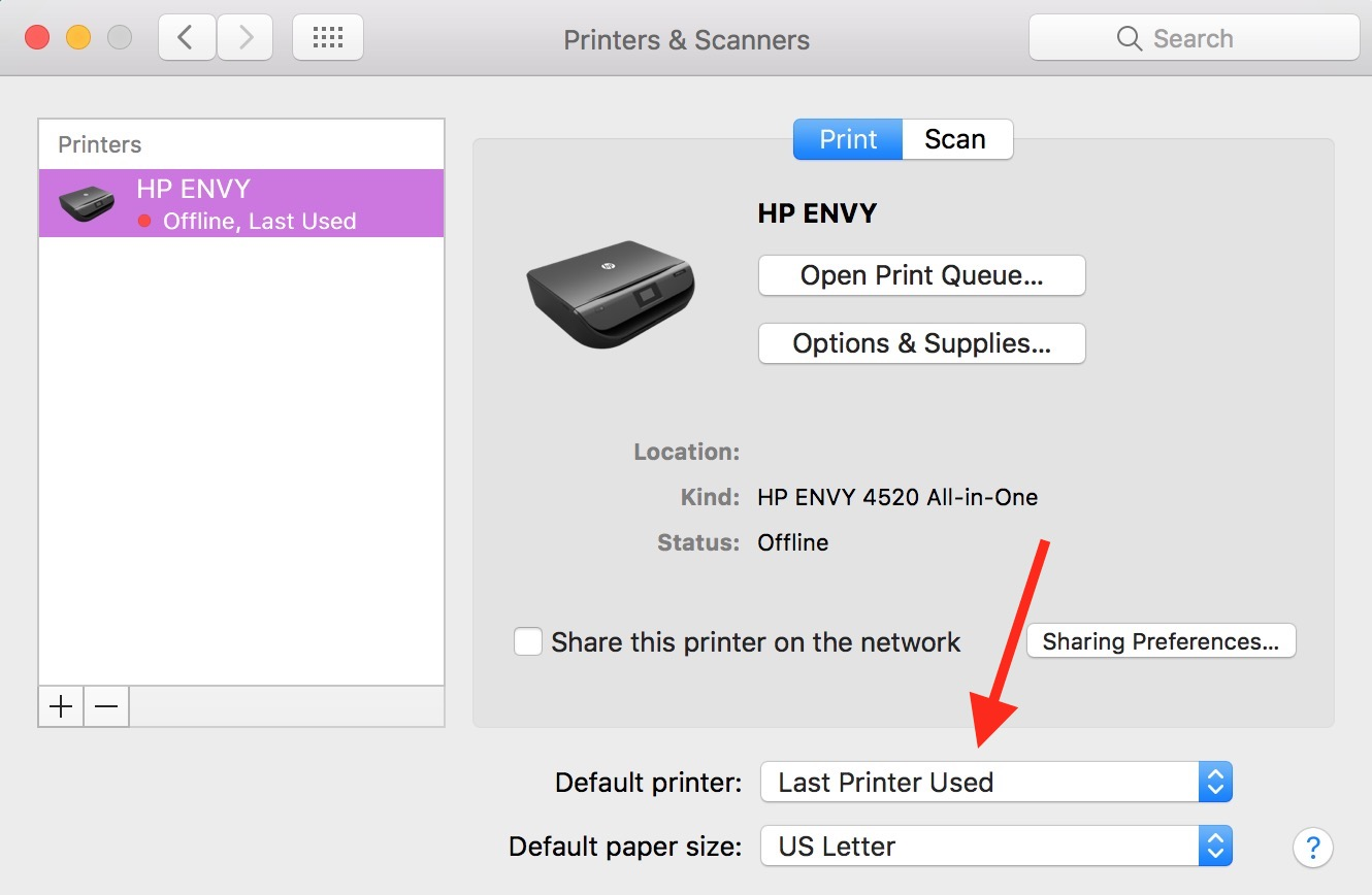 The Default Printer pop-up menu in Printers & Scanners System Preferences let you choose which printer your Mac always uses