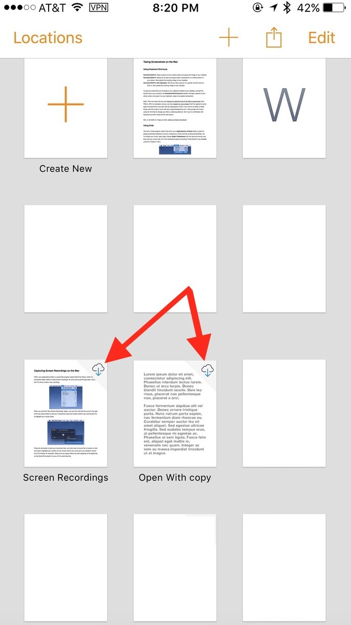 Pages stored in iCloud, but not locally on your iPhone or iPad