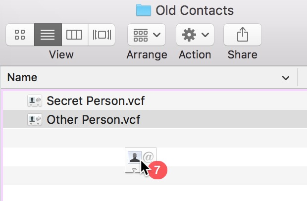 Dragging Cards out of Contacts creates Vcards