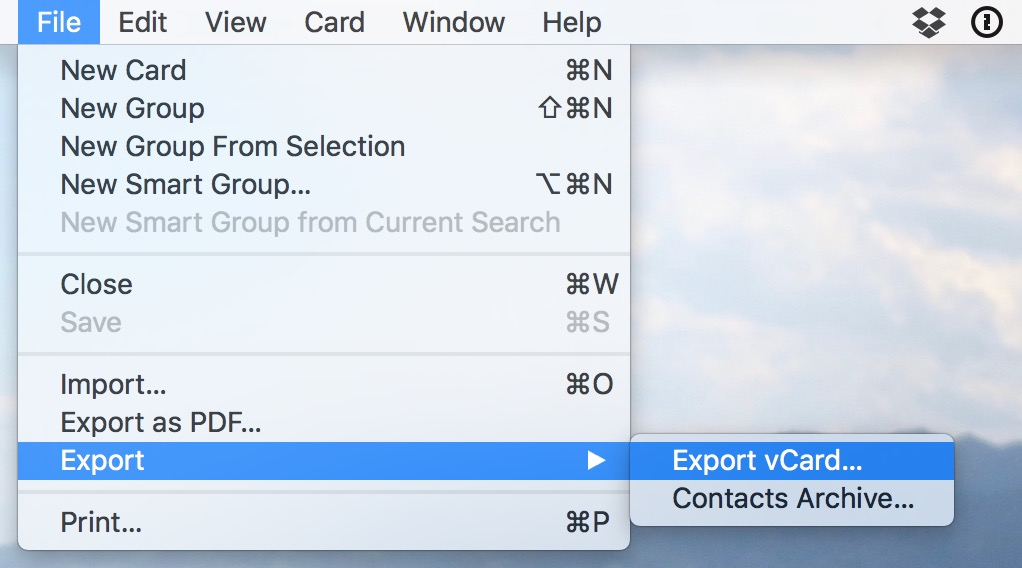 Choose File > Export vCard to archive just the contacts you selected as vcards