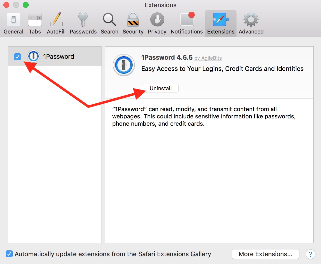 The Extensions tab in Safari Preferences lets you disable installed browser extensions