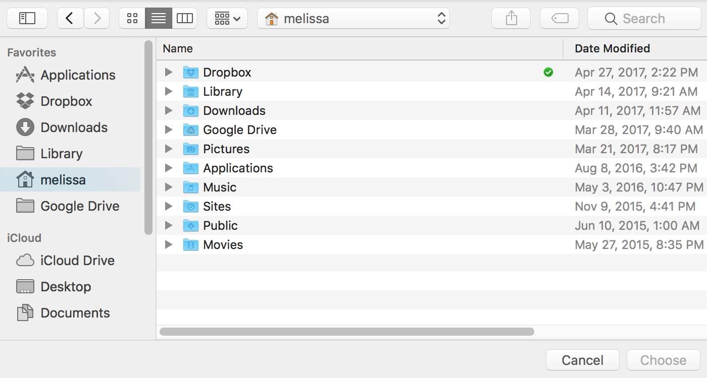 Use the File Picker dialog to select which files to upload to your iCloud Drive