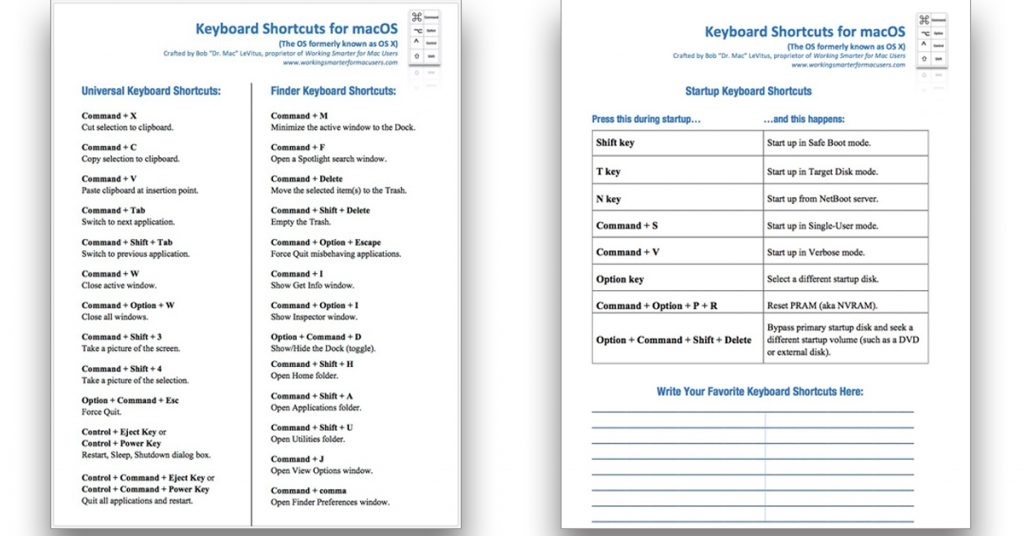 My free keyboard shortcut cheat sheet.