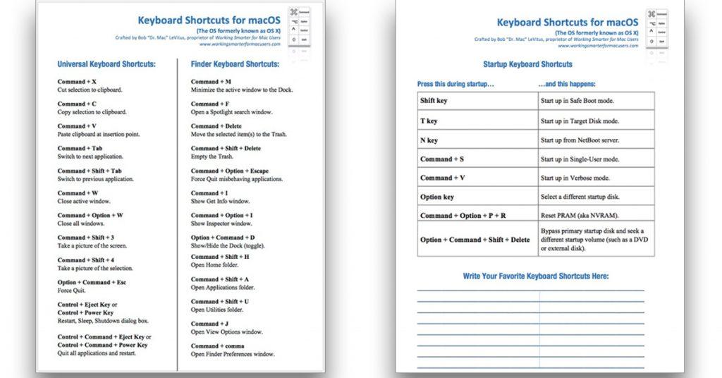 My free keyboard shortcut cheat sheet.