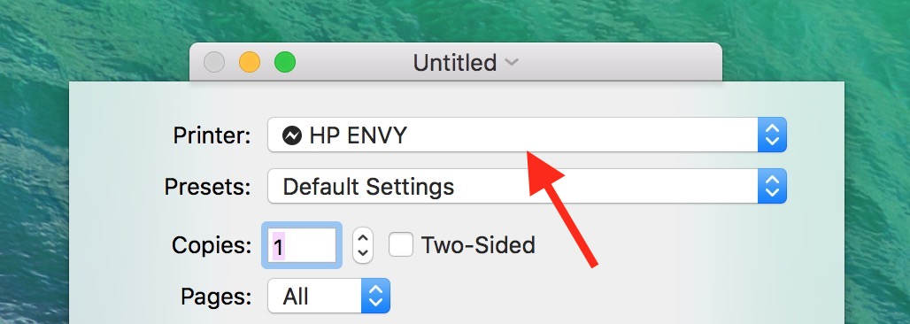 You can choose which printer you use from the Printer in the macOS document Print dialog