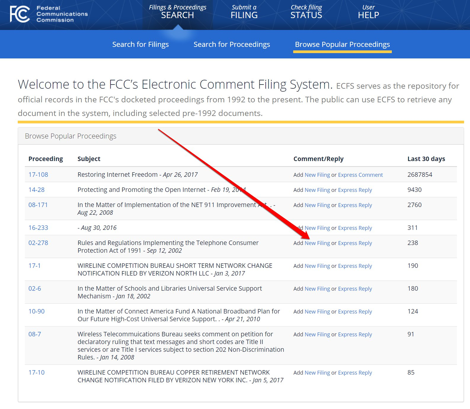 Create a new filing to tell the FCC what you think
