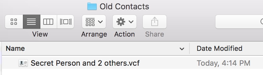 Choose a location to save the VCF File with the contacts you selected to archive