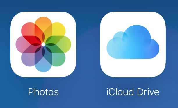 Choose Photos or iCloud Drive in the iCloud browser window to choose what to upload