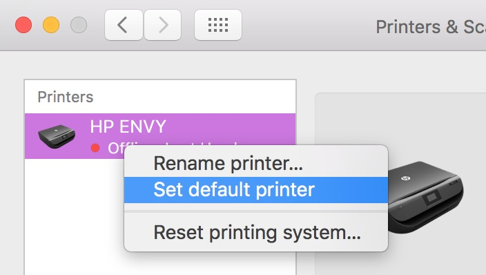 Control-click or Right-click on a printer in the Printers list in Printers & Scanners System Preferences to set a default printer in macOS