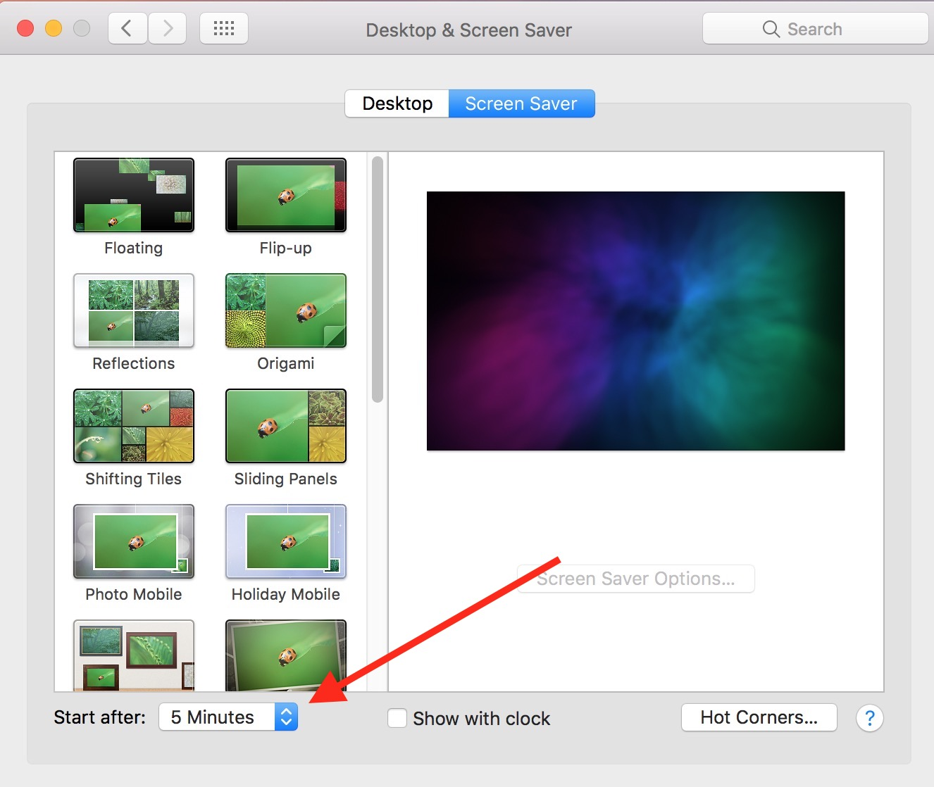 Use Desktop & Screen Saver settings to control how quickly your Mac screen saver starts and requires a password