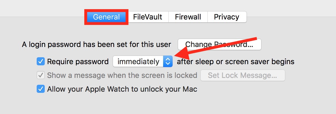 Use the Require Password option in the Security & Privacy settings to require a password when your Mac wakes from sleep or the screen saver activates