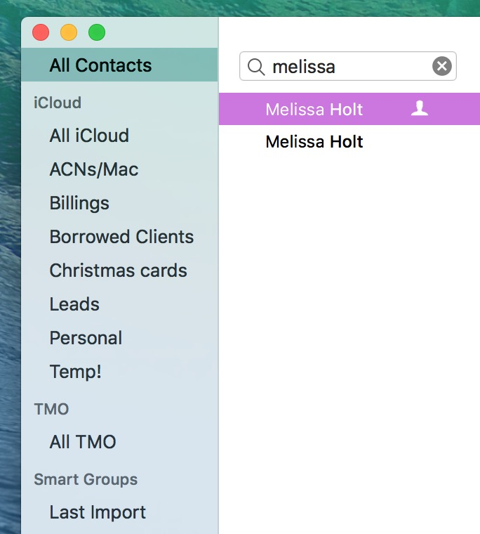 Finding Multiple Cards for a person in Apple's Contacts app