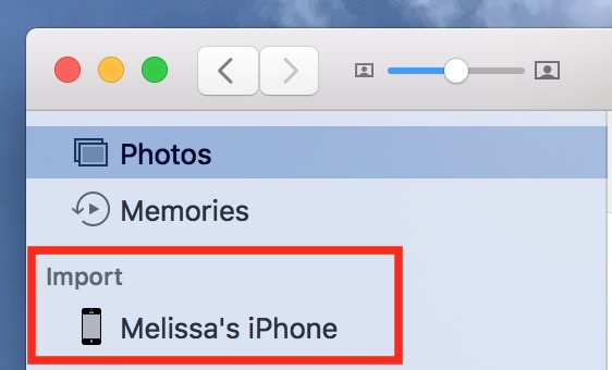 You can also choose your iPhone from the Photos Sidebar to change its settings