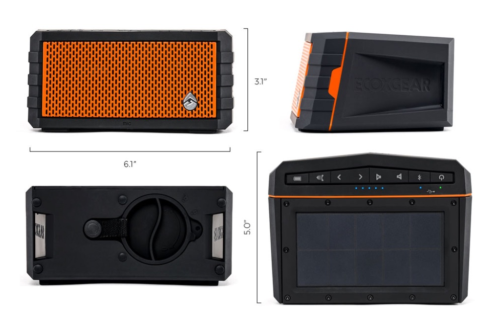 SolJam—It's a waterproof, shock-resistant, solar powered speaker with a USB port for charging other devices!
