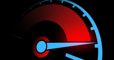 Modernistic speedometer. The need for Mac speed.