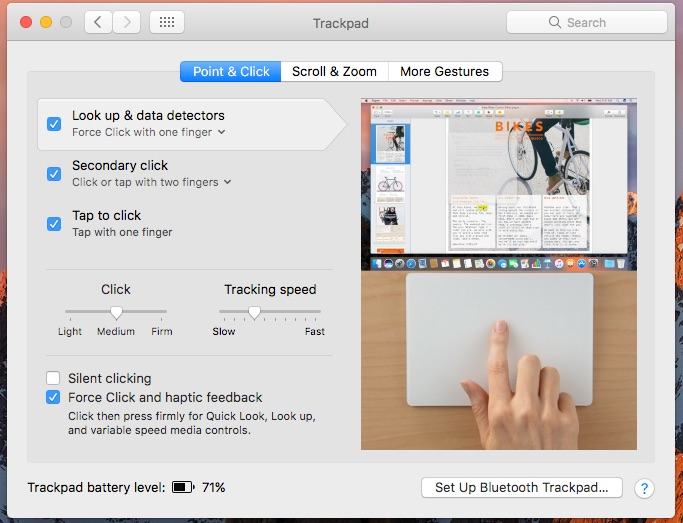 Mac Gestures in System Preferences