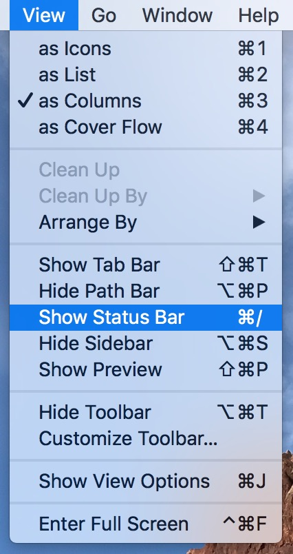 Use the Finder's Show Status Bar option to see more information about iCloud Drive file upload progress