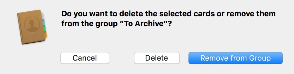 Choose Delete from the Contacts Confirm Dialog instead of Remove from Group