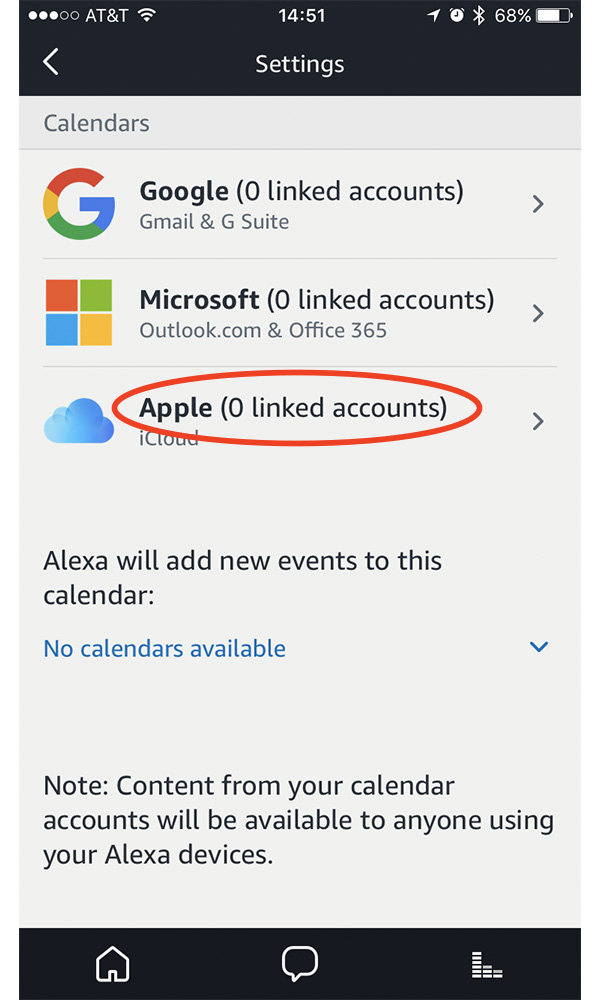 Use the Apple option in Alexa's Calendar Settings to link your Apple ID and iCloud account to Alexa
