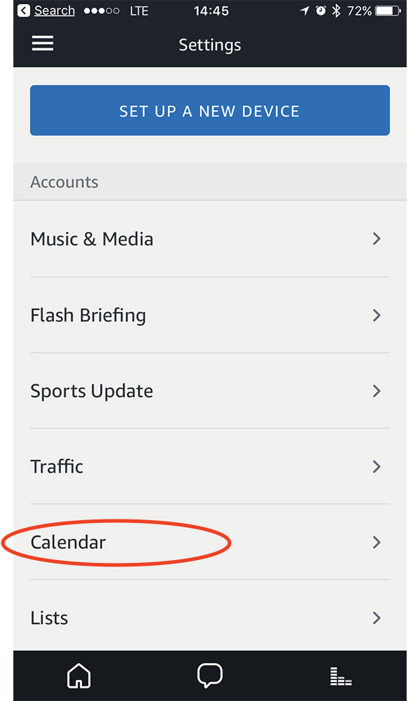 Link your iCloud account to Alexa with the Calendar Settings