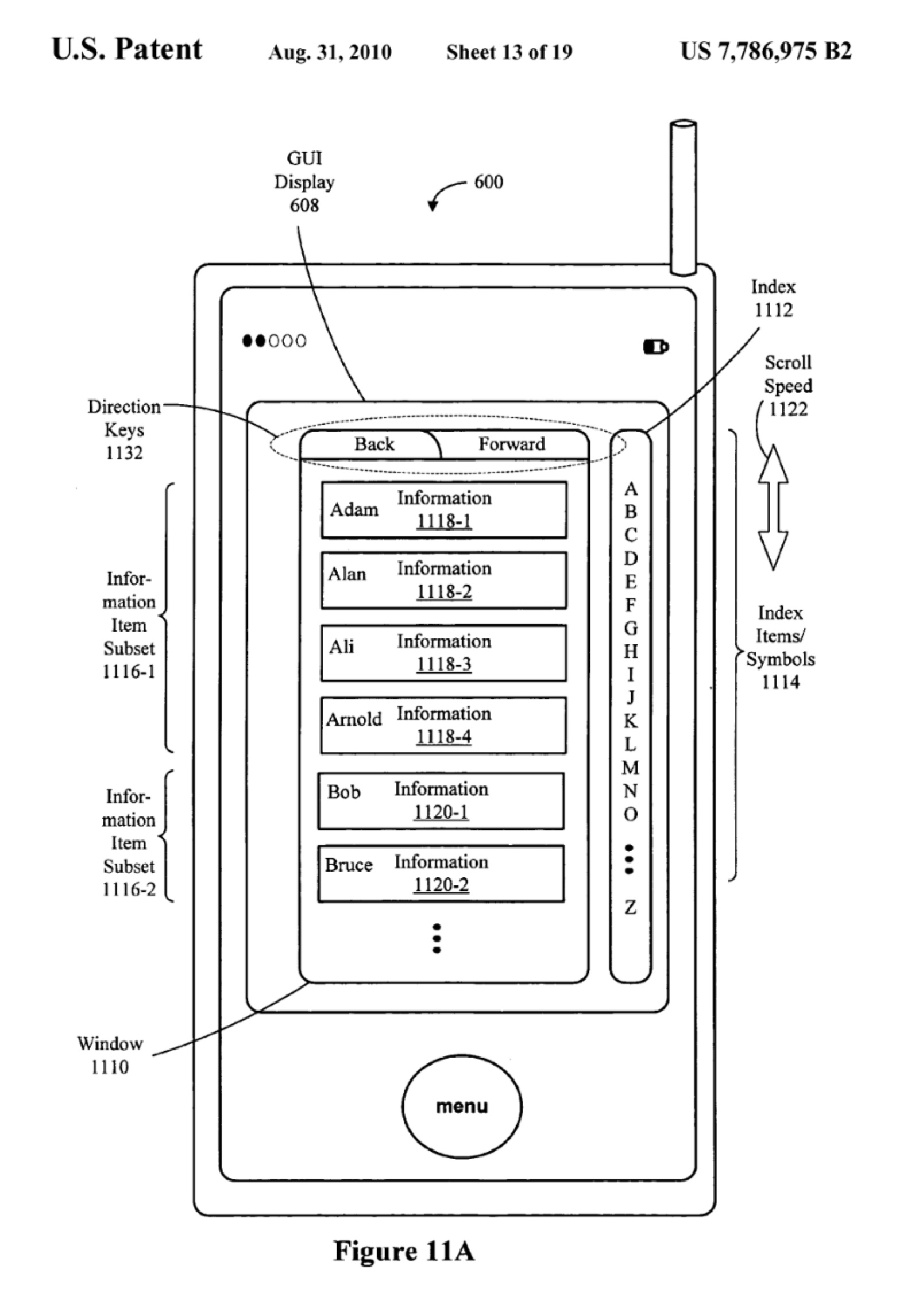Image of Apple patent that lays out scrolling in Safari.