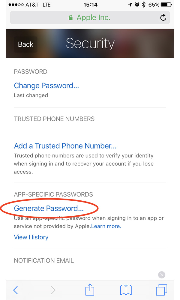 Create an app-specific password for Alexa at the Apple ID website
