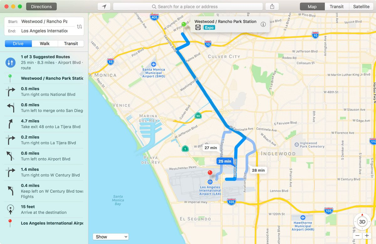 Apple Maps route of driving from Westwood Station to LAX.