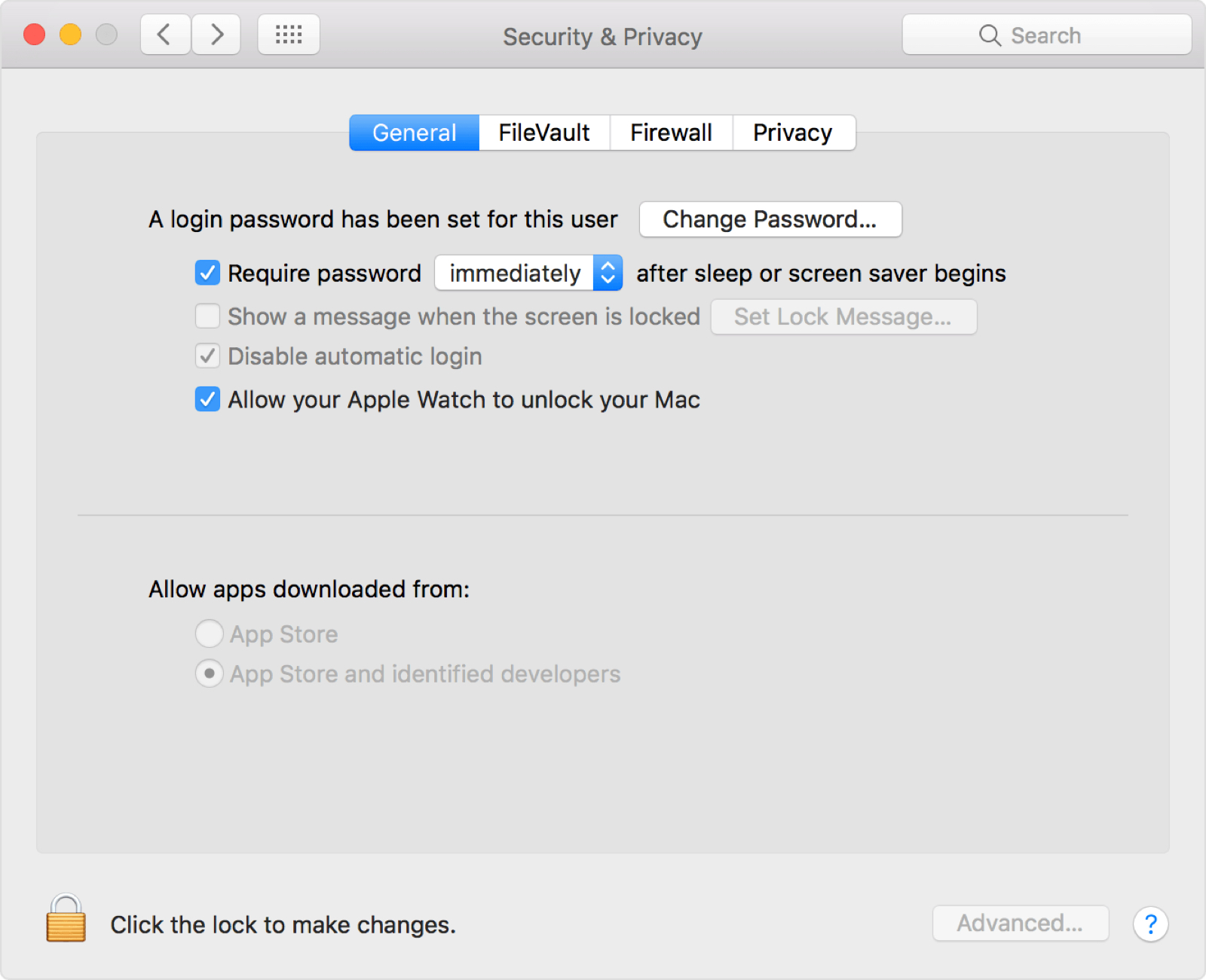 Find an Apple Watch Auto Unlock in System Preferences on the Mac.