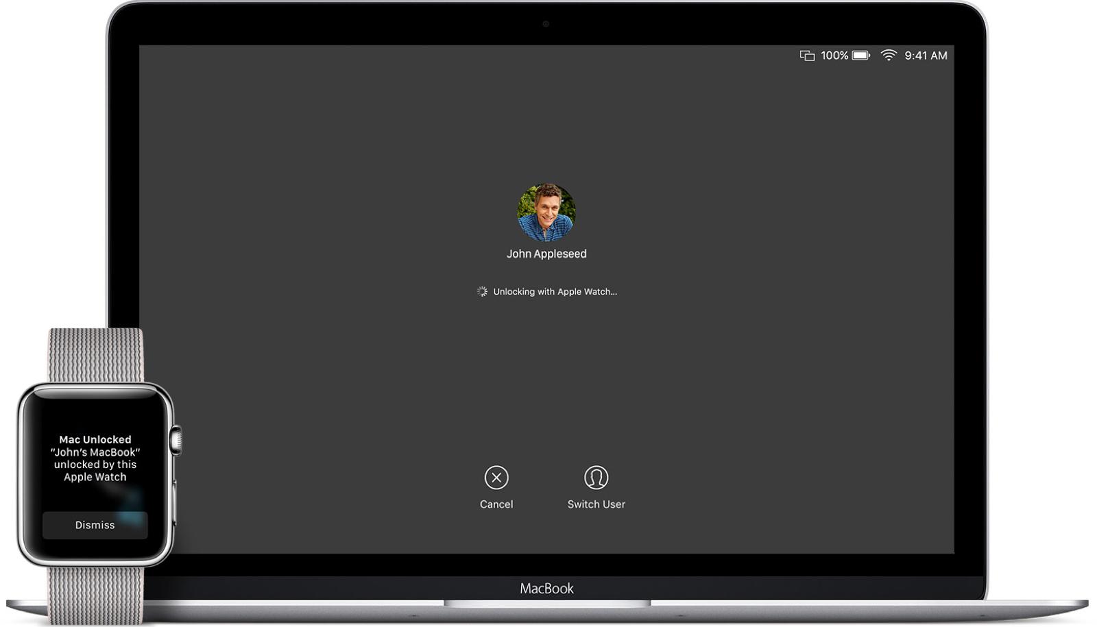 Using Apple Watch auto unlock to unlock a Mac.