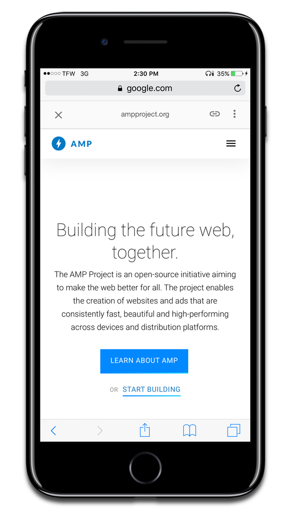 Screenshot of Google AMP website. Scrolling in Safari will be modeled after AMP.