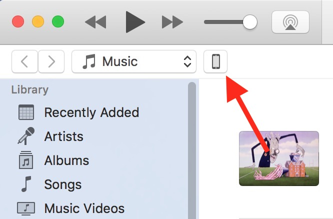 Select your iPhone in the iTunes Toolbar to get to its settings