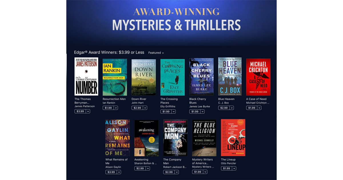 iBooks Offers 30 Edgar Award Winning Mysteries for $3.99 or Less